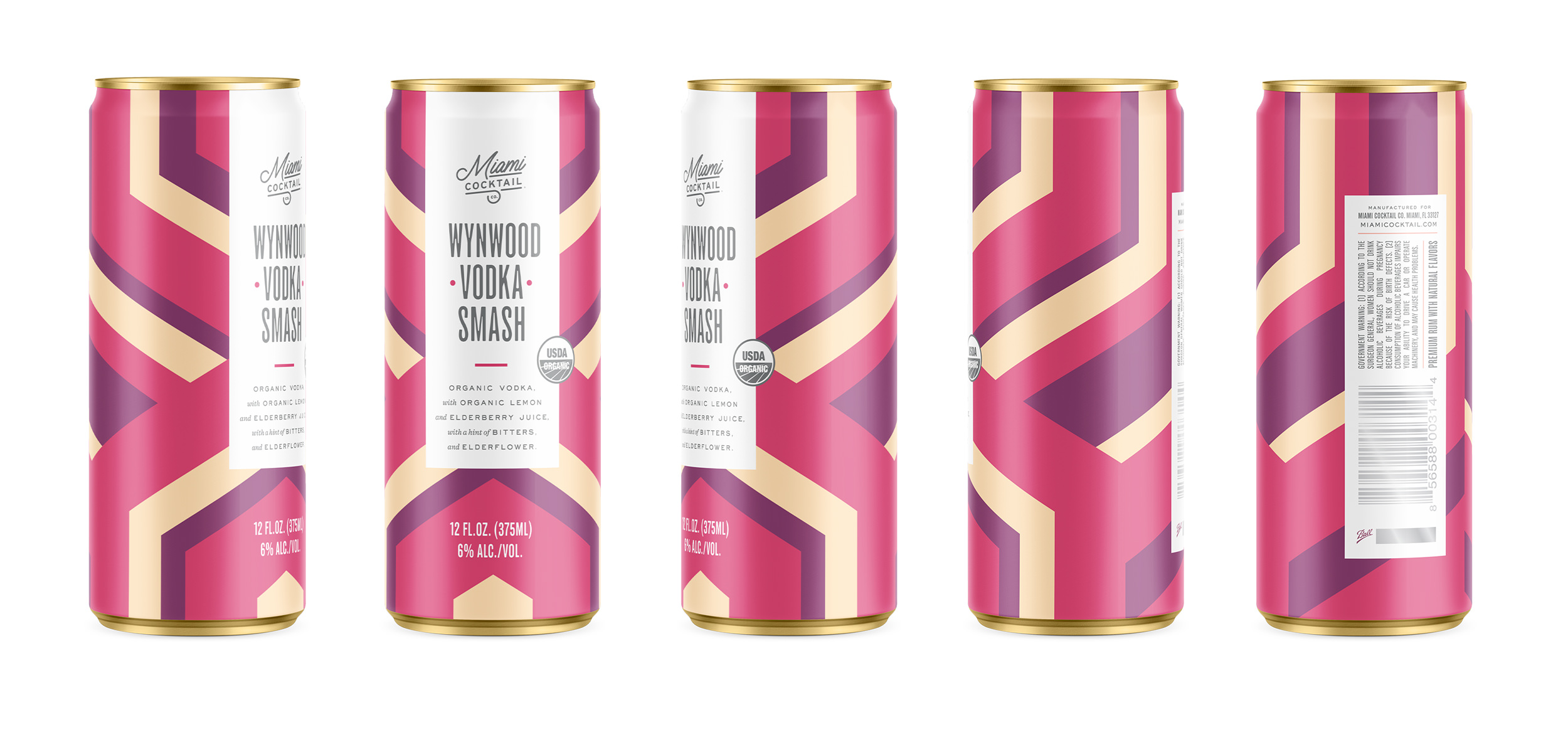 Chad Roberts Design Ltd. Miami Cocktail Company Wynwood Originals Sparkling Craft Wine Cocktail Package Design
