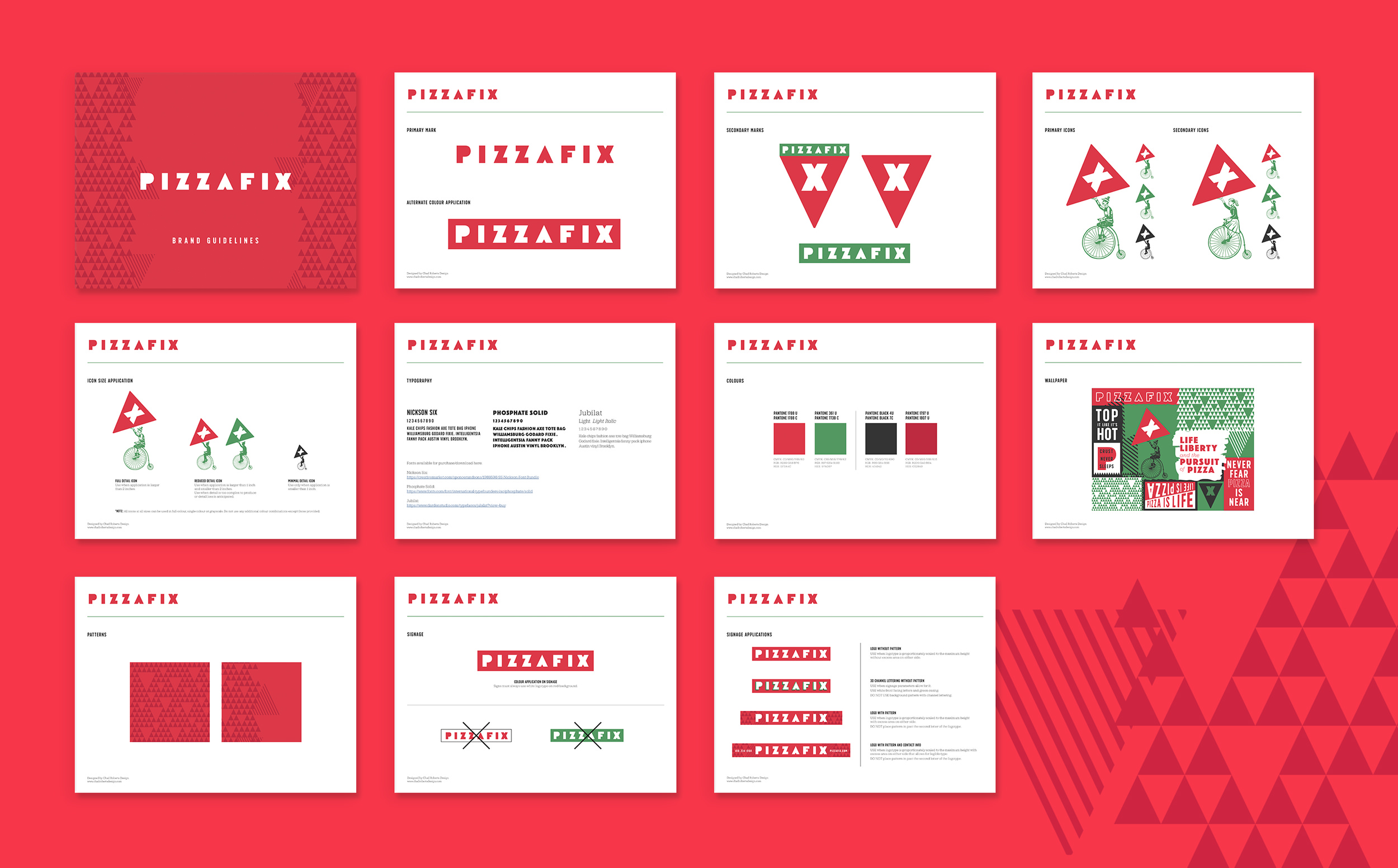 Chad Roberts Design Ltd. Pizzafix Styleguide Brand Guidelines Brand Identity