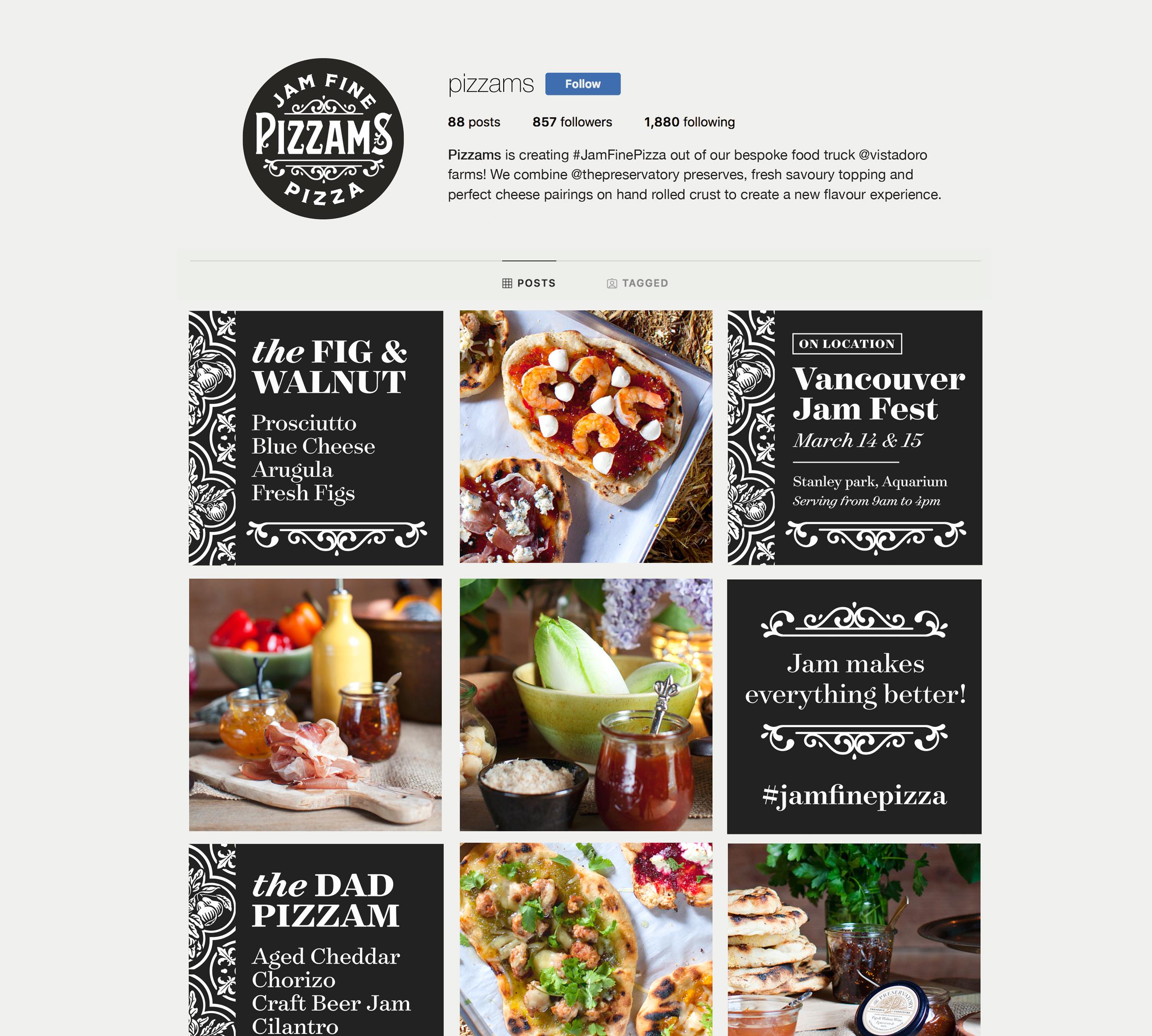Chad Roberts Design Ltd. Pizzams Brand Identity Instagram