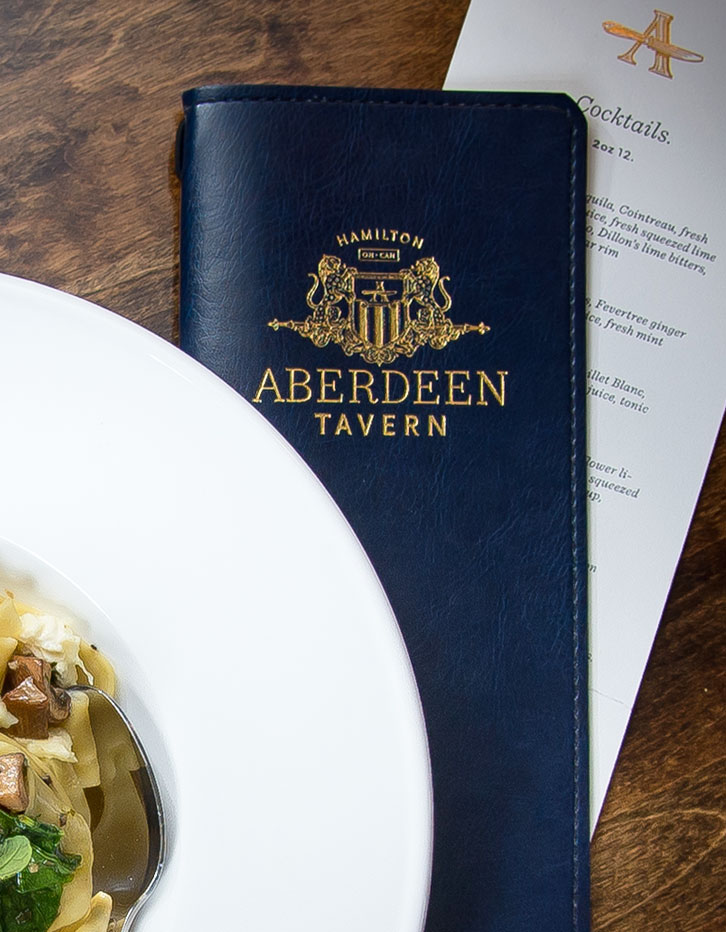Chad Roberts Design Ltd. Aberdeen Tavern Brand Identity Menu Presentation