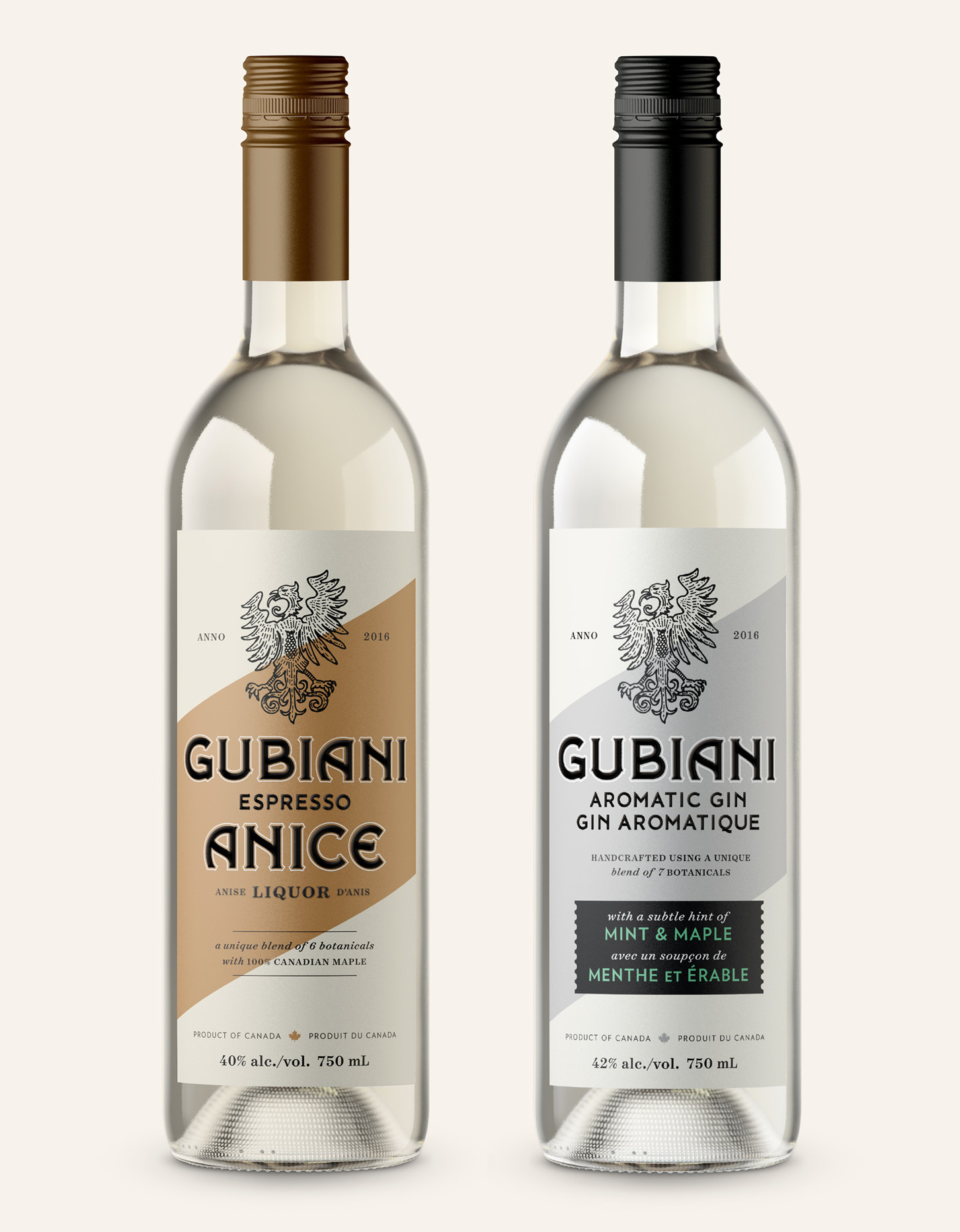 Chad Roberts Design Ltd. Gubiani Distillery Brand Identity Design Package Design