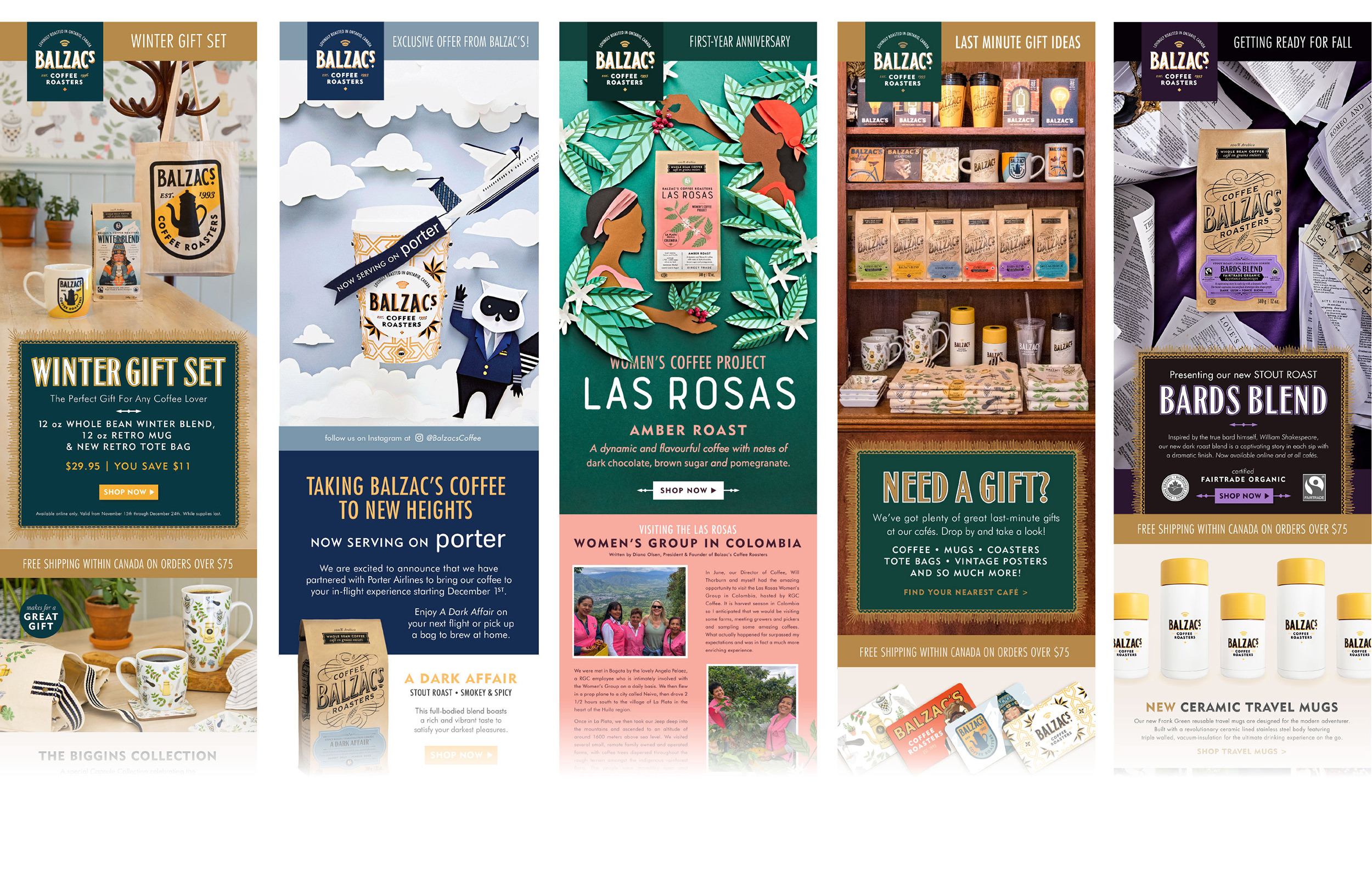 Chad Roberts Design Ltd. Balzac's Coffee Roasters Brand Identity Design Marketing Collateral